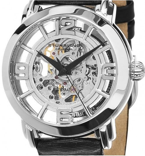 Stuhrling Casual Watch for Women - Leather, Black, 156.06
