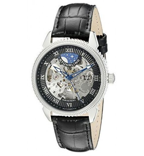 Stuhrling Casual Watch for Men - Leather, Black, 835.02