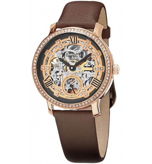 Stuhrling Casual Watch for Women - Leather, Brown, 802.03