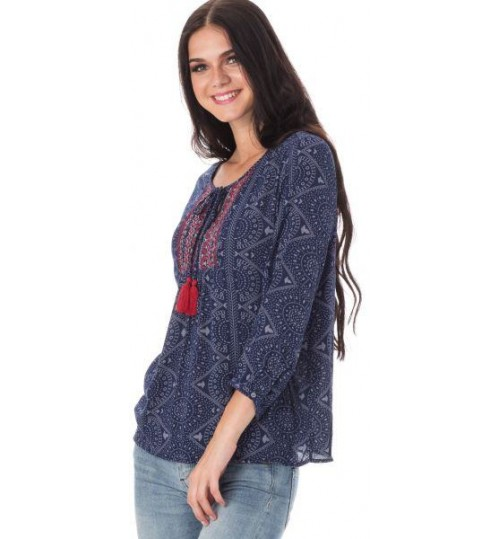 Only Ginny 3/4 Sleeve Blouse for Women - 36 EU, Navy Blazer