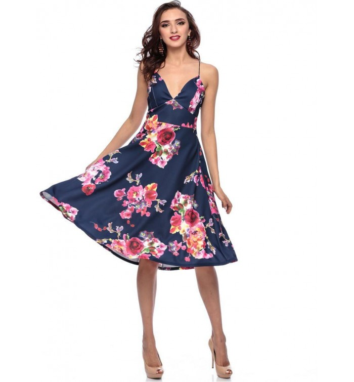 abf2837f50e8 AX Paris Floral Dress for Women - 14 UK- Navy Blue- Target Group ...