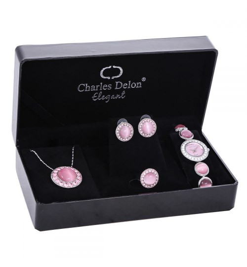 Charles Delon For Women Pink Dial Metal Band Watch & Jewelry Set - 4574 LPPP