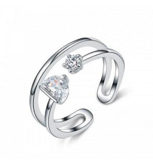 Fashion ring studded with a double zircon silver