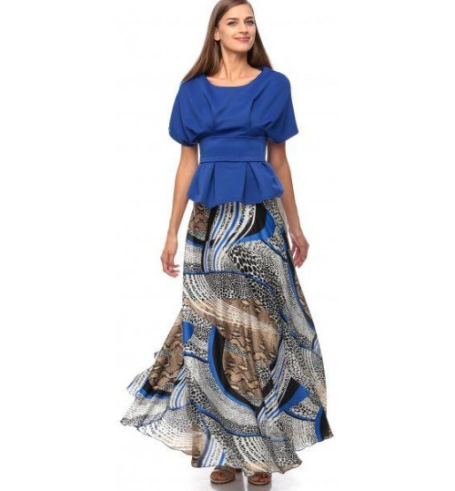 Reeta Karazon Peplum Dress for Women - M, Blue/Multicolor
