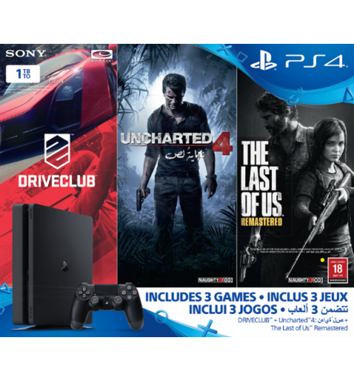 PlayStation 4 ,Sony,1TB ,With 3 Games,Driveclub,Uncharted4,TheLastOfUs ,Guarantee 2 Years from Agent Sony Saudi Arabia