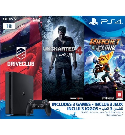 PlayStation 4 ,Sony,1TB ,Controller,With 3 Games,Driveclub,Uncharted4,Ratchet&Clank ,Guarantee 2 Years from Agent Sony Saudi Arabia