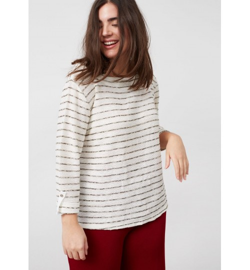 MANGO  Striped Textured Sweatshirt