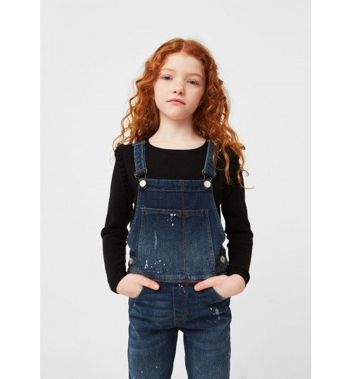 MANGO Kids Dark Denim Dungarees