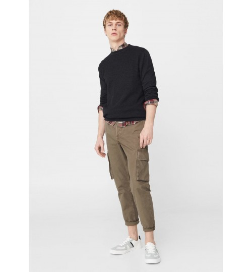 MANGO Men Cotton Textured Sweater
