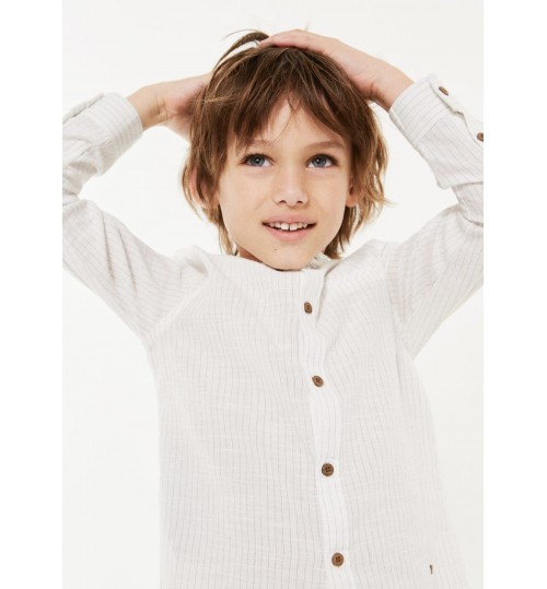 MANGO Kids Mao Collar  Striped Shirt
