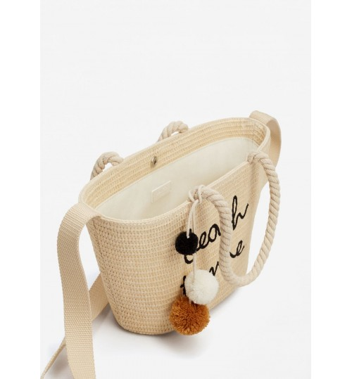 MANGO Kids Message Straw Basket Bag