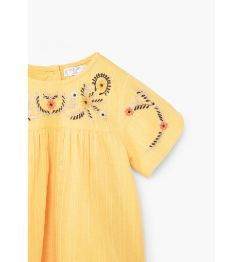 MANGO Baby Girl Embroidered Panel Dress