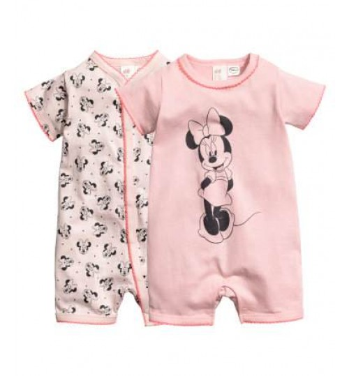 H&M Baby Girl 2-Pack All-In-One Pyjamas