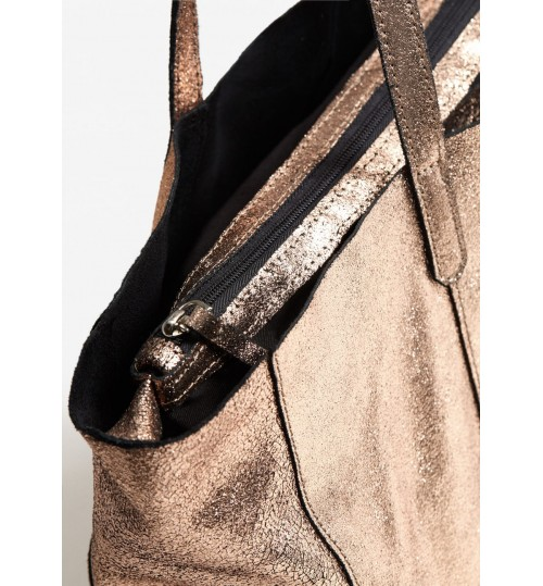 MANGO Leather Metallic Bag