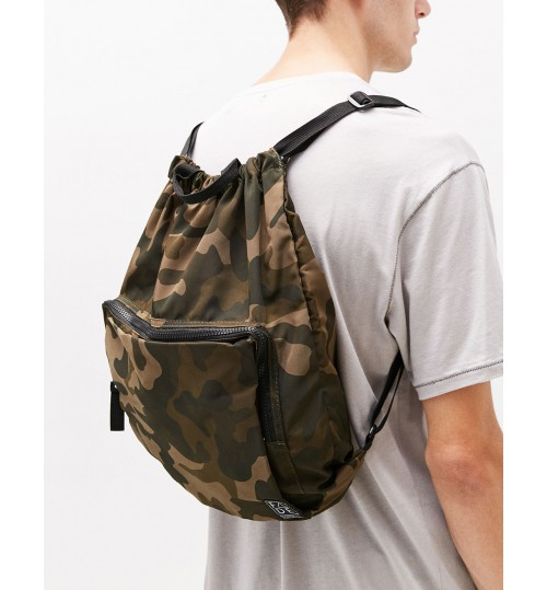 Bershka Camouflage Drawstring Backpack