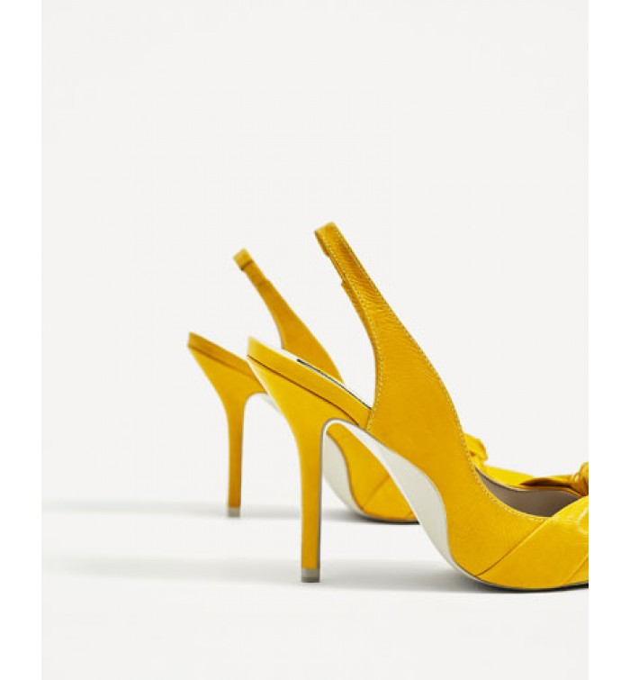 ZARA Knotted Leather High Heel Slingback Shoes