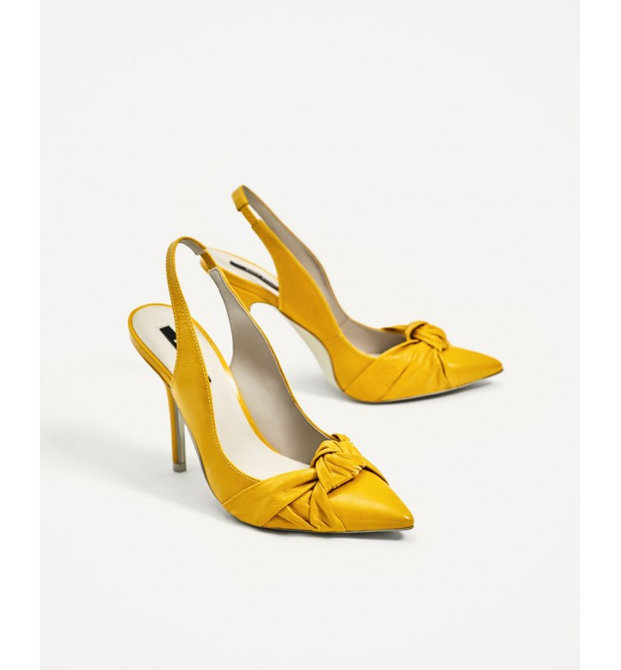 f44fd1156ab ZARA Knotted Leather High Heel Slingback Shoes