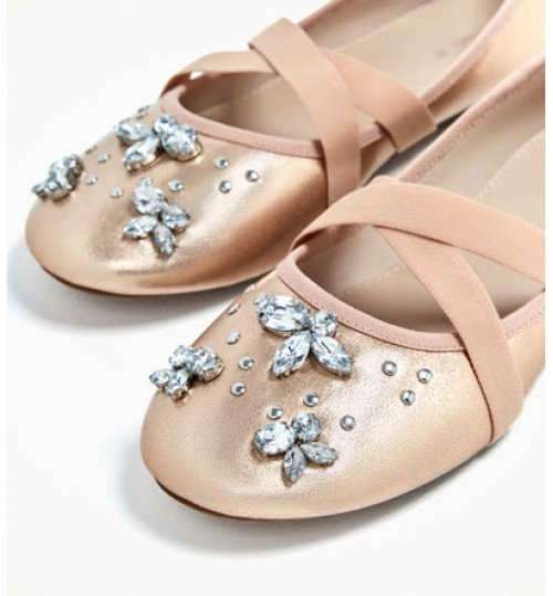 ZARA Kids Embellished Metallic Ballerinas
