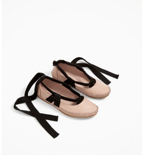 ZARA Kids Tied Leather Ballerinas