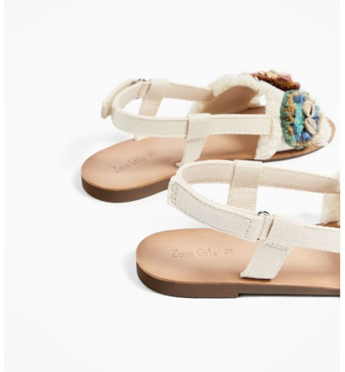 ZARA Kids Raffia Effect Sandals With Shells