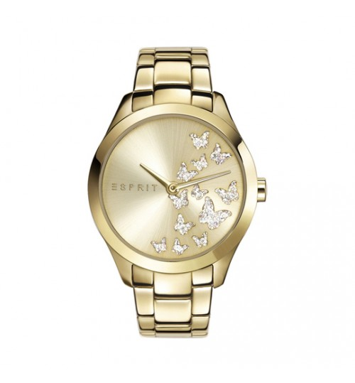 Esprit Gold Watch With Butterflies