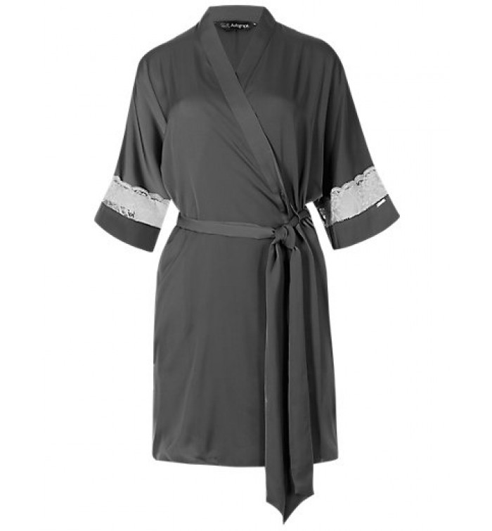 Marks Spencer Satin Lace Insert Dressing Gown