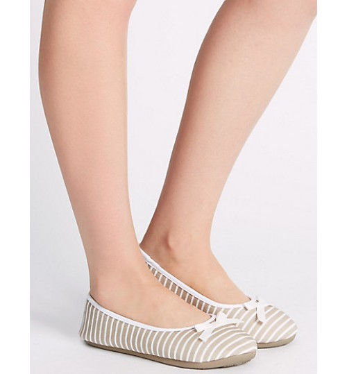 Marks & Spencer Striped Ballerina Slippers