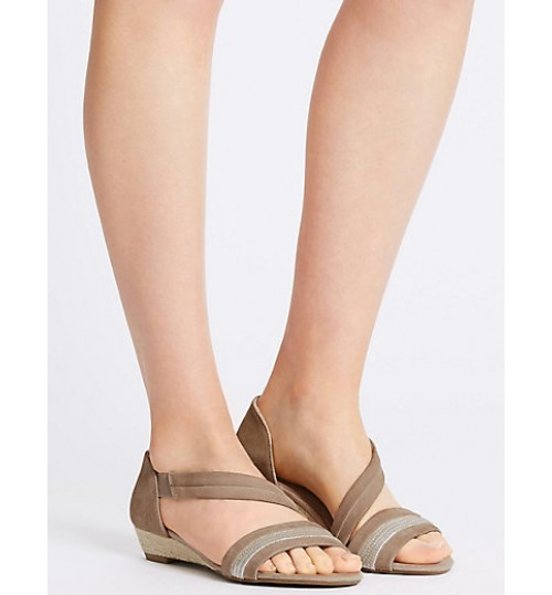 Marks & Spencer Suede Wedge Heel Asymmetrical Sandals