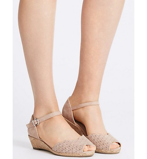 Marks & Spencer Wide Fit Suede Wedge Heel Sandals