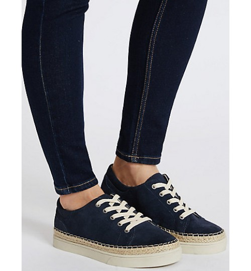 Marks & Spencer Wide Fit Suede Trainers with Stain Away