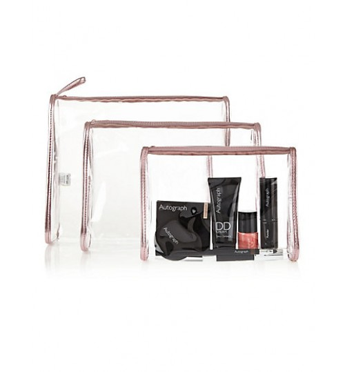 M&S 3 Piece Clear Cosmetic Bag Set