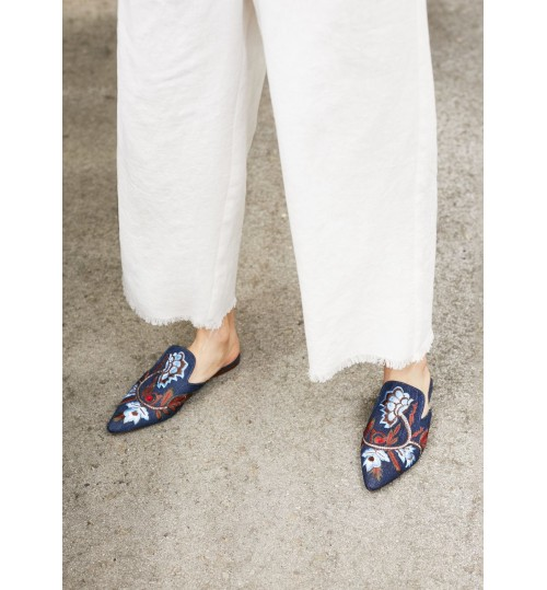 MANGO Floral Embroidered Denim Loafers