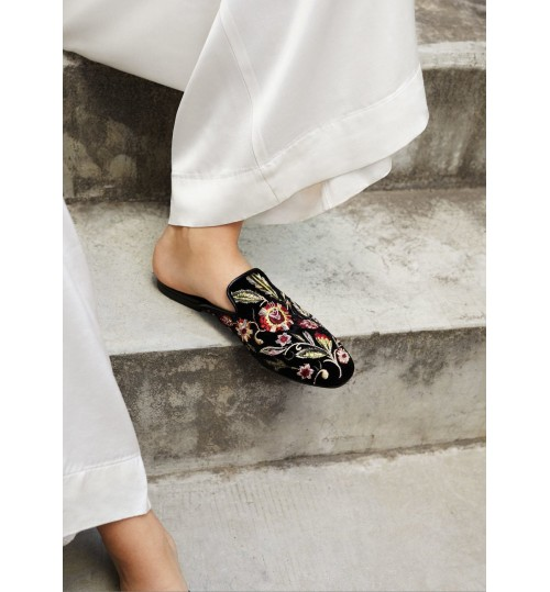 MANGO Embroidered Velvet Loafers