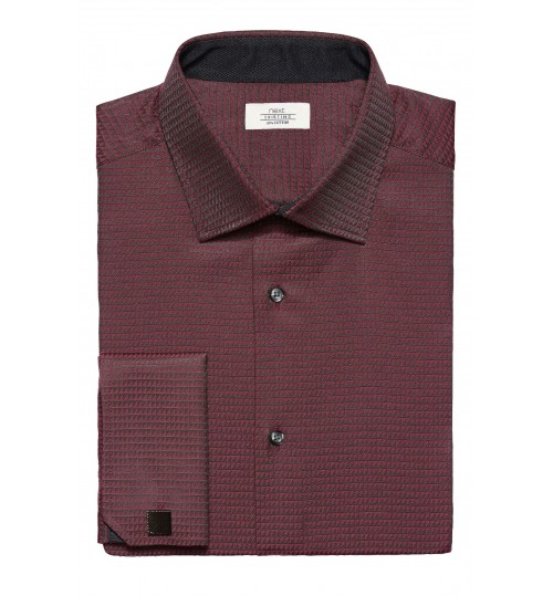 NEXT Burgundy Slim Fit Triangle Weave Shirt