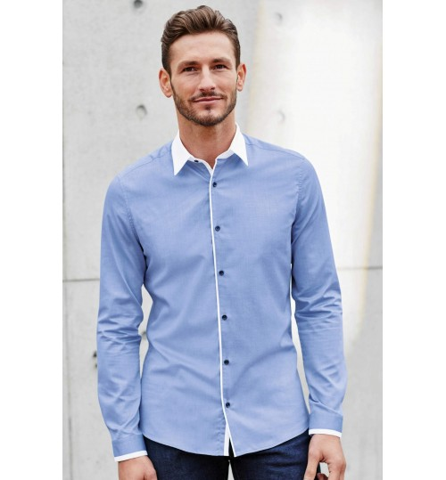 NEXT Blue Contrast Collar Long Sleeve Shirt