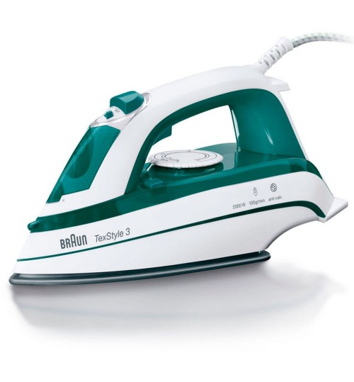 Braun 2000W TexStyle 3 Steam Iron Green Model TS 345