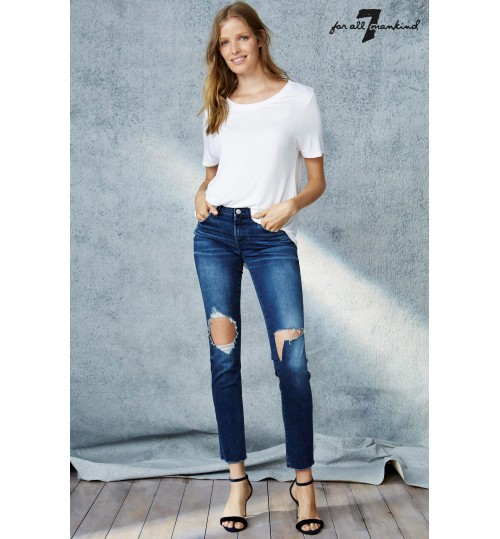 7 For All Mankind Aged Denim Distressed Pyper Jean