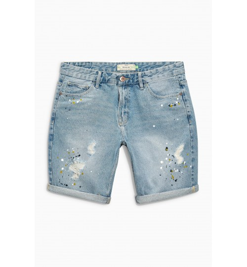 NEXT Denim Paint Splat Rip And Repair Shorts