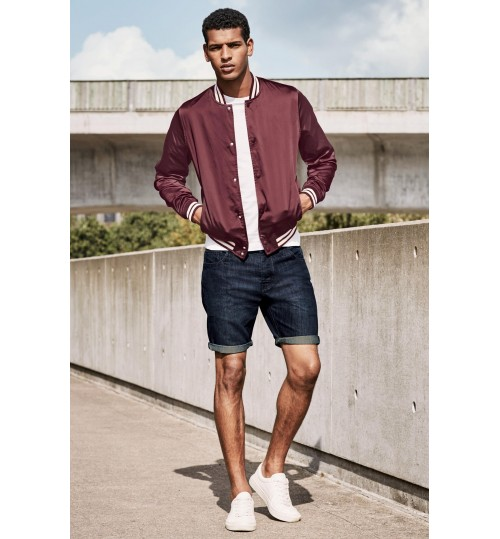 NEXT Mid Wash Denim Skinny Fit Shorts