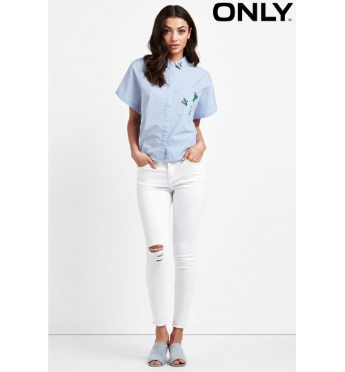 Only Short Sleeve Embroidered Shirt