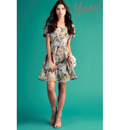 Yumi Floral Leaf Day Dress