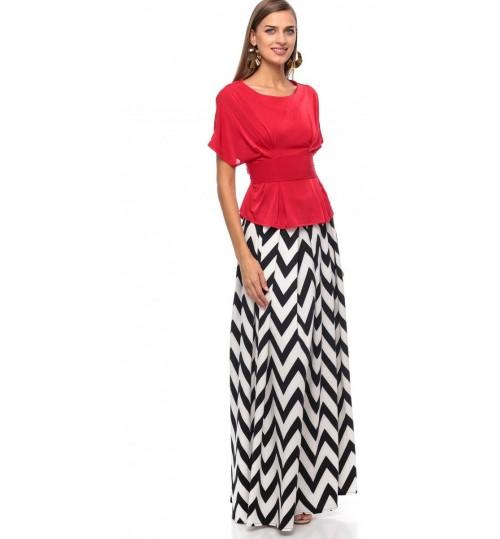 Reeta Zakaria Peplum Dress for Women - M, Red/Black-White