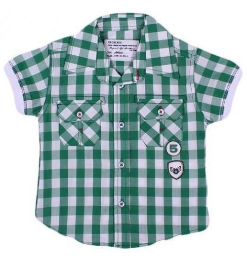 عزيز بيبي 019124 قميص نص كم للأولاد - أخضر ( من 9 إلى 12 شهر )