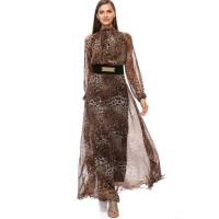 Reeta Desert Palm A Line Dress for Women - M, Tiger