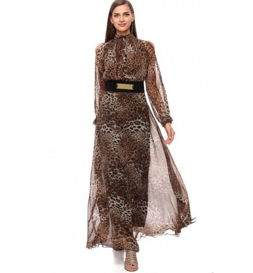Reeta Desert Palm A Line Dress for Women - M, Tiger