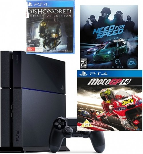PlayStation 4 ,Sony,500 GB ,With 3 Games ,Destiny,Dishonored,Moto GP14 ,Guarantee 2 Years from Agent Sony Saudi Arabia
