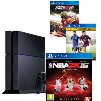 PlayStation 4 ,Sony,500 GB ,With 3 Games ,NBA 2K16,FIFA15,Moto GP14 ,Guarantee 2 Years from Agent Sony Saudi Arabia