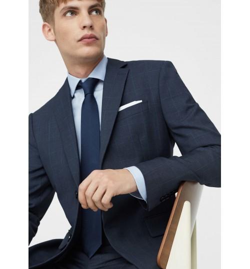 MANGO Men Slim-Fit Check Suit Blazer