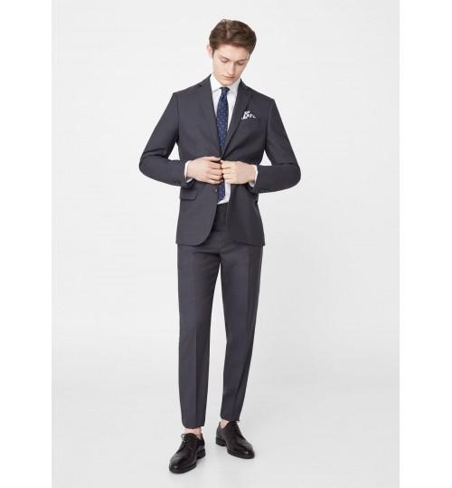 MANGO Men Patterned Slim-Fit  Suit Blazer
