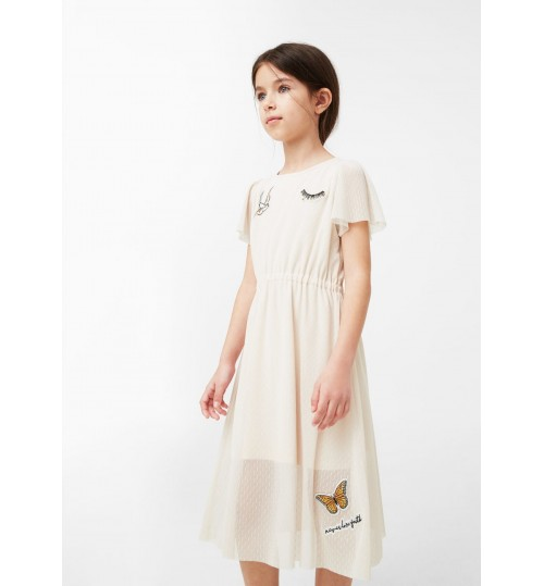 MANGO Kids Tulle Patched Dress